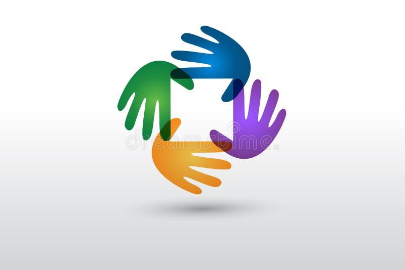 Logo uścisku dłoni ludzie biznesu wektorowi royalty ilustracja