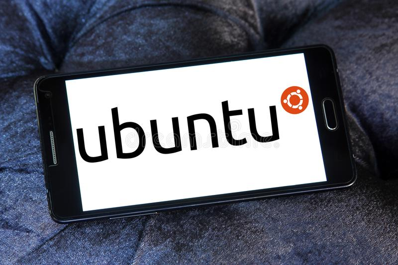 Ubuntu operating system logo. Logo of Ubuntu operating system on samsung mobile. ubuntu is an open source operating system for computers. It is a Linux royalty free stock photos