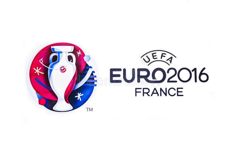 Logo of the 2016 UEFA European Championship in France. Bangkok, Thailand - May 7, 2016: Official logo of the 2016 UEFA European Championship in France printed on
