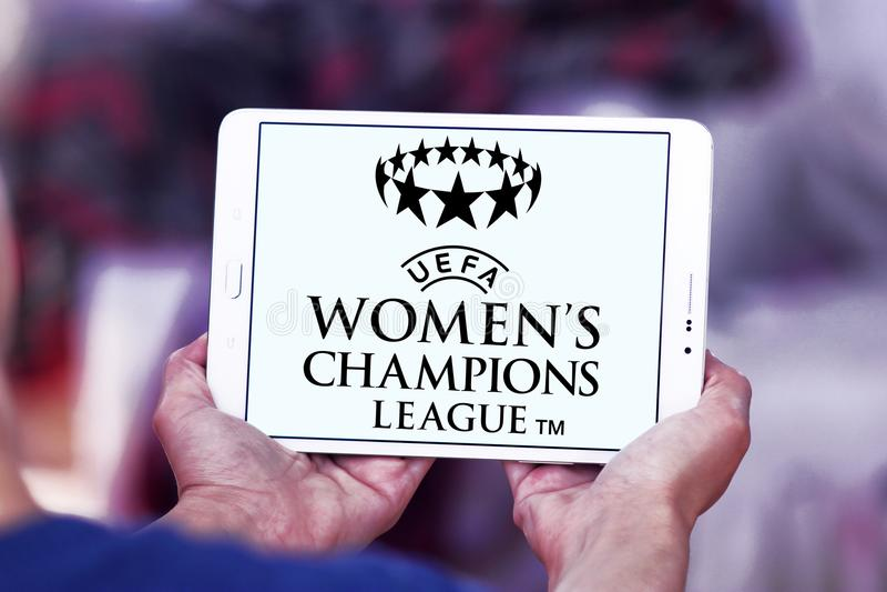 UEFA Women`s Champions League logo. Logo of UEFA Women`s Champions League on samsung tablet. it is an international women`s association football competition royalty free stock photography