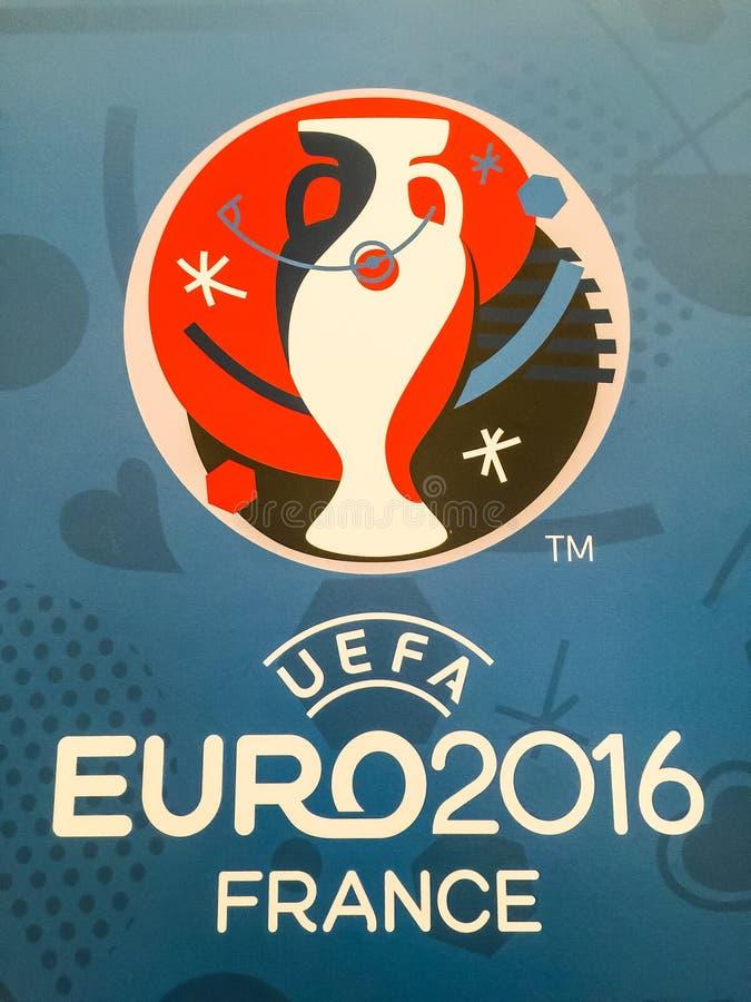 Logo ufficiale del campionato europeo 2016 dell'UEFA in Francia fotografie stock libere da diritti