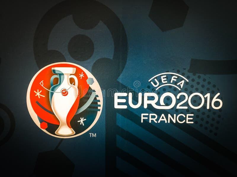 Logo ufficiale del campionato europeo 2016 dell'UEFA in Francia immagini stock libere da diritti
