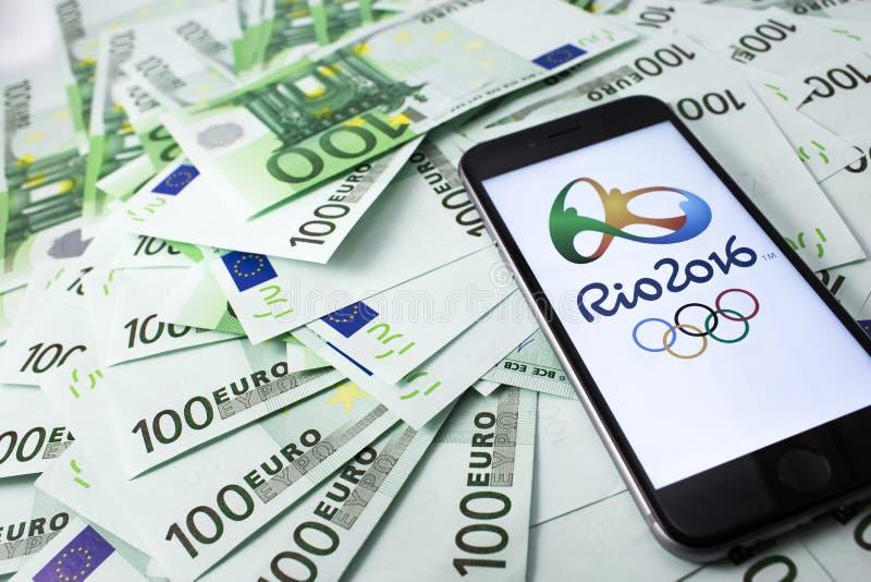Logo ufficiale del olimpics di 2016 estati fotografia stock libera da diritti