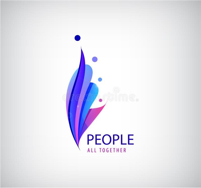 Logo umano di vettore 4 icone della persona, gruppo di persone insieme segno stilizzato di origami 3d Rete sociale, famiglia, lav illustrazione vettoriale