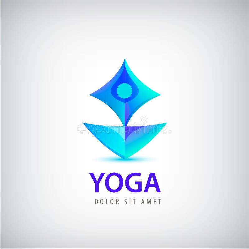 Logo umano stilizzato di forma di yoga Uomo che si siede il modello di vettore di progettazione di posa di Lotus illustrazione vettoriale