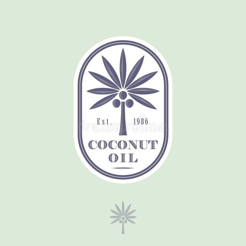 Logo und Aufkleber für Kokosnussöl für das Verpacken Kokosnussbaum mit Buchstaben in einer gerundeten Ikone vektor abbildung