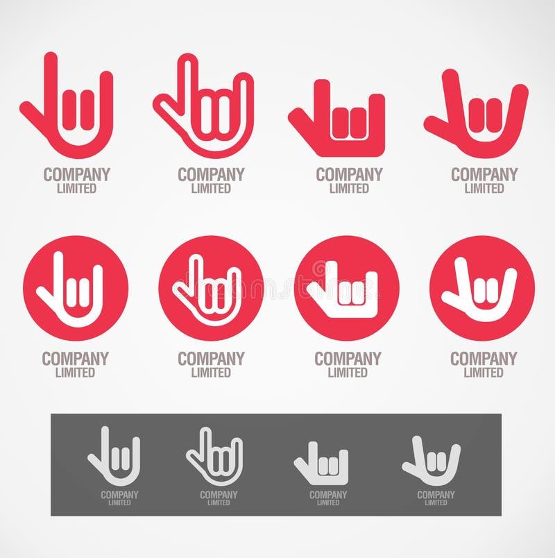 Logo und Symbol entwerfen Felsenhand und Liebeshand vektor abbildung