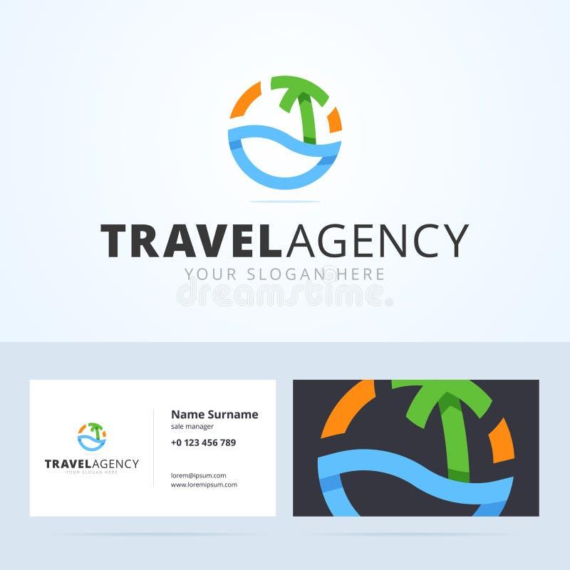 Logo und Visitenkarteschablone für Reisebüro vektor abbildung
