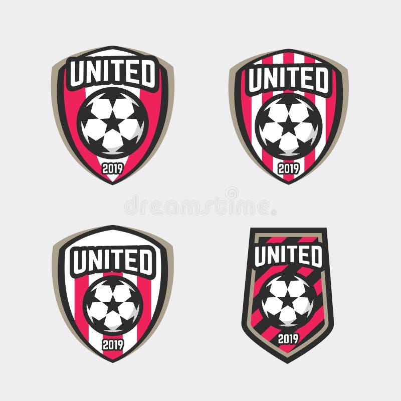 Logo uni d'insigne du football du football illustration de vecteur
