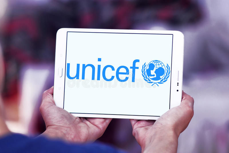 UNICEF logo. Logo of United Nations International Children`s Emergency Fund , UNICEF on samsung tablet . it is a United Nations UN programme headquartered in New stock photography