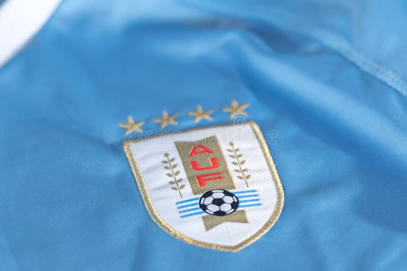 Logo of Uruguay football national team federation printed on shirt, AUF Asociacion Uruguaya de. Canillo , Andorra - 9 abril 2020 - Logo of Uruguay football stock photos