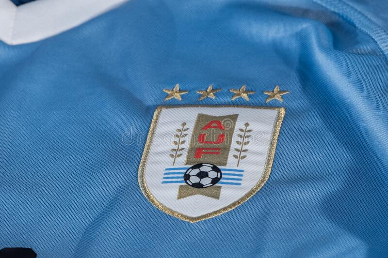 Logo of Uruguay football national team federation printed on shirt, AUF Asociacion Uruguaya de. Canillo , Andorra - 9 abril 2020 - Logo of Uruguay football stock images