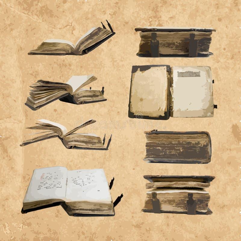 Logo ustawiający z średniowiecznymi starymi książkami dla twój projekta ilustracji