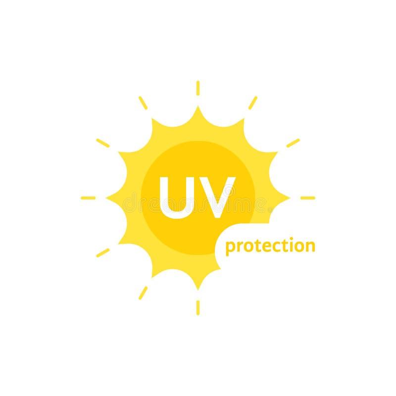 Logo UV jaune de protection sur le blanc illustration libre de droits