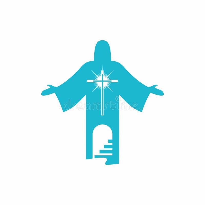 logo Välj därför banan som leder till himmel, till förälskelse för gud` s till och med Jesus Christ vektor illustrationer