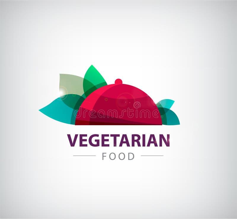 Logo végétarien de restaurant de vecteur, icône illustration libre de droits