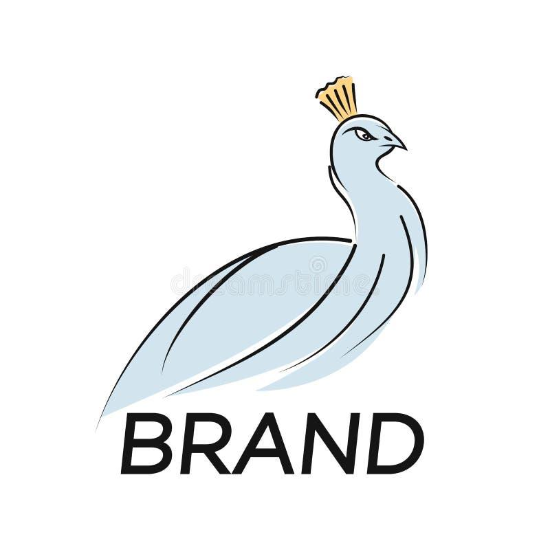 Logo van de moderne vogelpauw Vectorillustratie vector illustratie