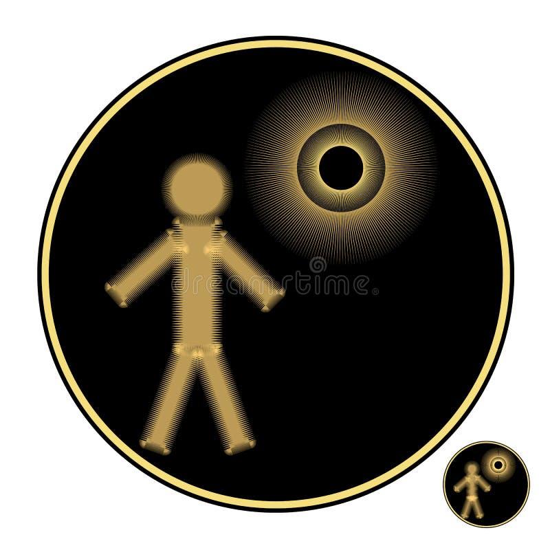 Logo van de persoon of de robot exploratie van de embleemruimte gouden objecten op een zwarte achtergrond royalty-vrije illustratie