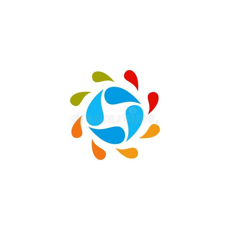 Logo variopinto astratto isolato del cerchio delle gocce di acqua Logotype liquido di circolazione Scherza l'icona della scuola d illustrazione vettoriale