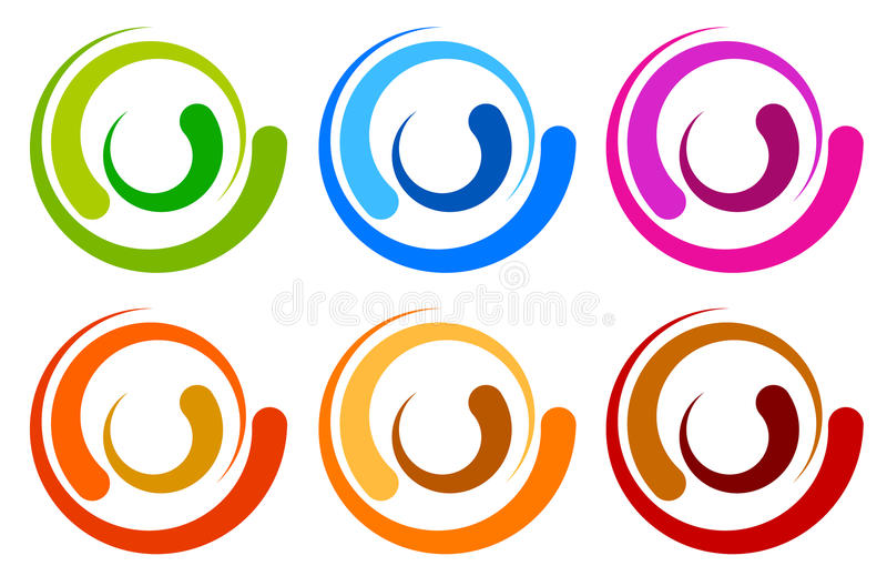Logo variopinto del cerchio, modelli dell'icona circl segmentato concentrico illustrazione vettoriale