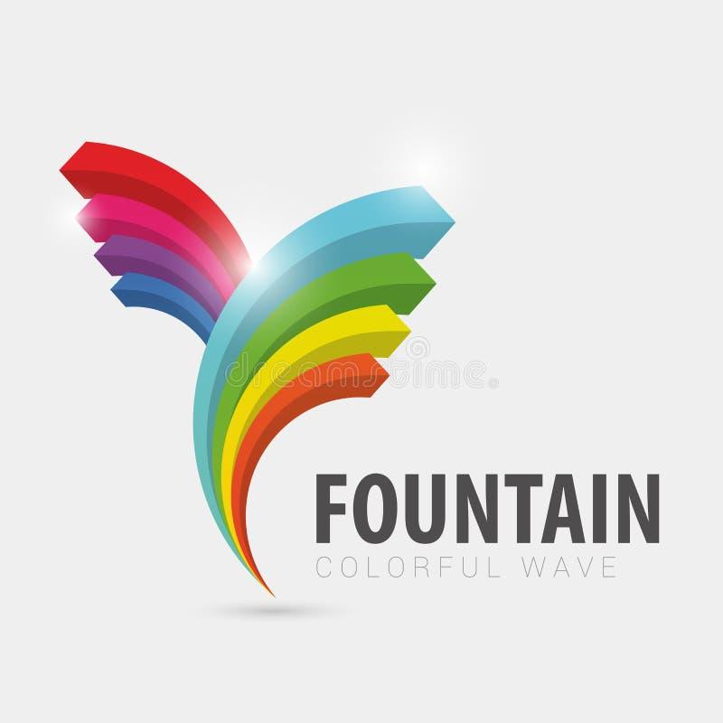 Logo variopinto della fontana onda Disegno moderno Vettore royalty illustrazione gratis
