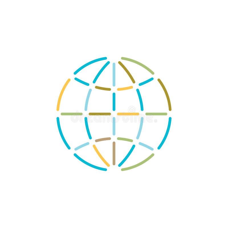 Logo variopinto di stile del profilo del globo della terra illustrazione vettoriale