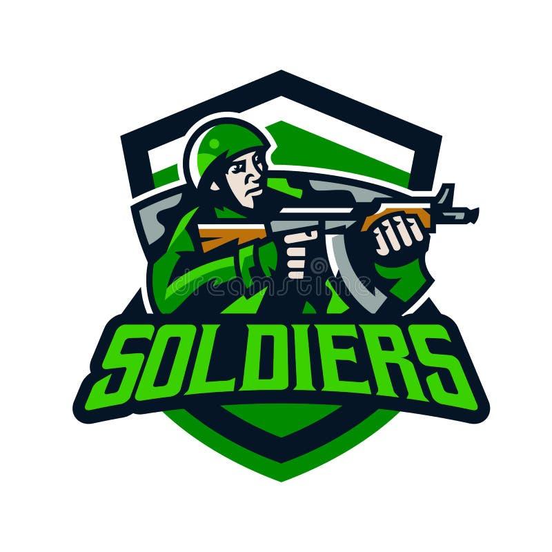 Logo variopinto, distintivo, emblema di una fucilazione del soldato da una mitragliatrice leggera Soldato in uniforme, casco, mit illustrazione vettoriale