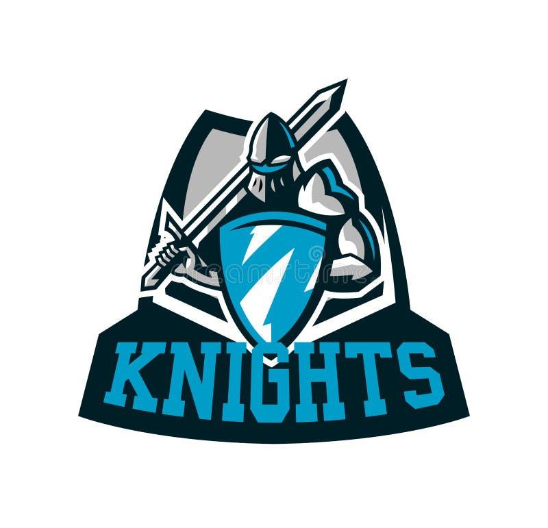 Logo variopinto, emblema del cavaliere s in armatura del ferro Un guerriero dei medio evo, un cavaliere tiene uno schermo e una s royalty illustrazione gratis