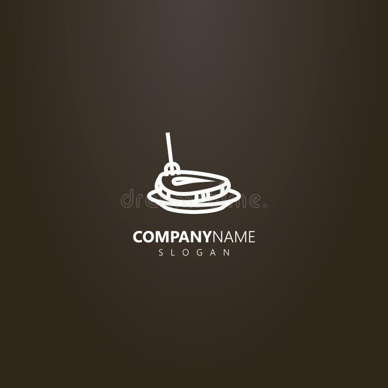 Logo vecteur de schéma de bifteck a martelé avec une fourchette d'un plat illustration stock