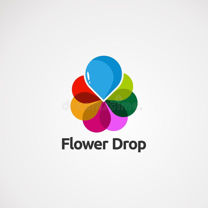 Logo vector flower drop concept , icon, element, and template for business vector illustration