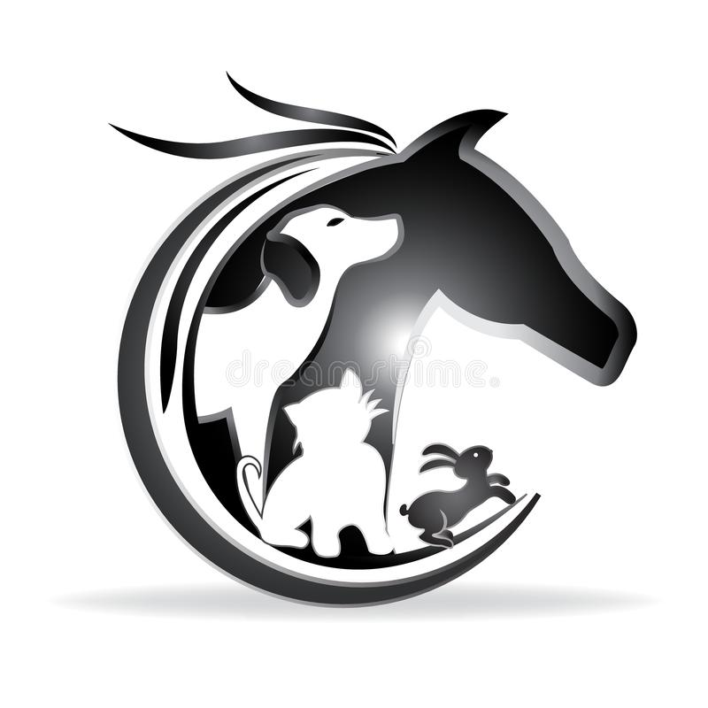 Logo vector horse, dog ,cat and rabbit silhouettes stock illustration