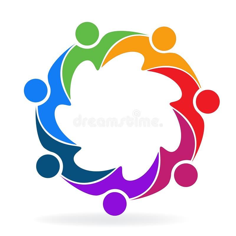 Logo vector teamwork business people in a hug creative design icon template vector illustration