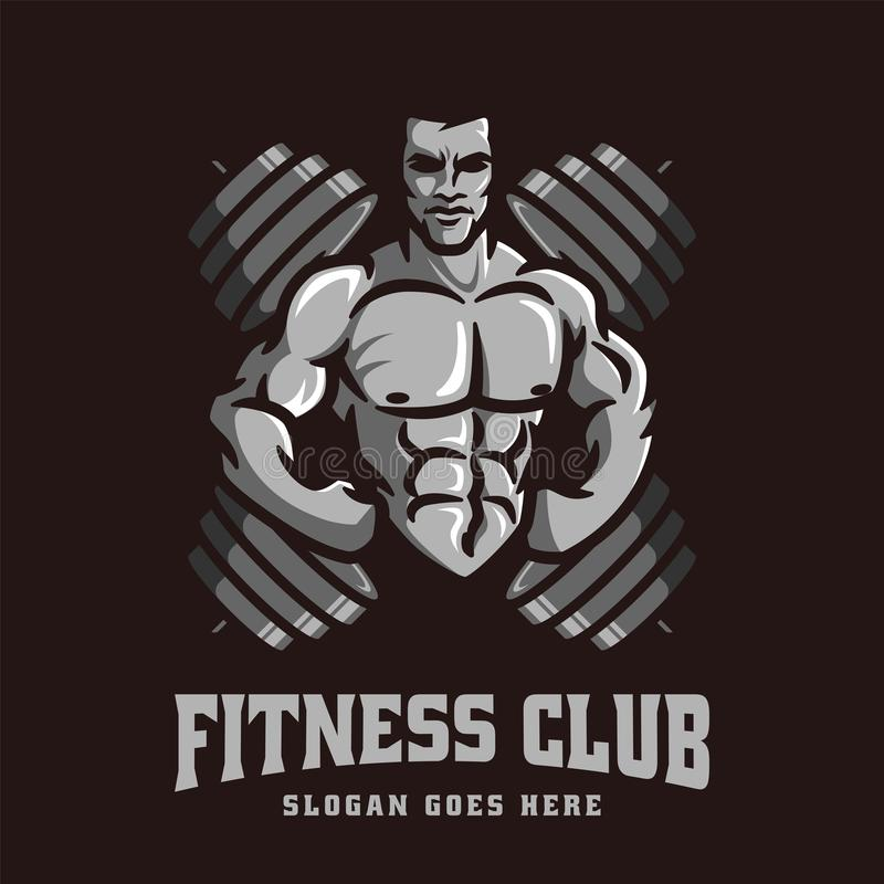 Logo vector template of gym Bodybuilder fitness theme, with muscle man character and barbell vector illustration
