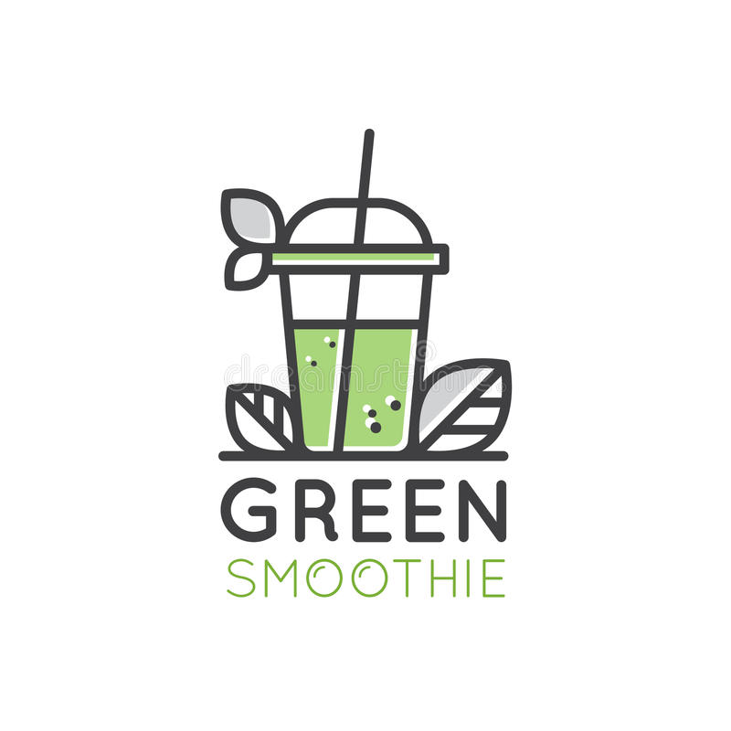 Logo for Vegan or Vegetarian Smoothie Fruit Drink Detox Bar Cafe with Leafs Fresh Natural Product. Vector Icon Style Illustration Logo for Vegan or Vegetarian vector illustration