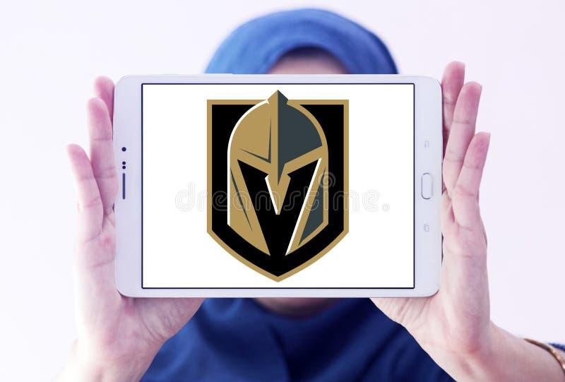 Vegas Golden Knights ice hockey team logo. Logo of Vegas Golden Knights ice hockey team on samsung tablet holded by arab muslim woman. The Vegas Golden Knights stock image