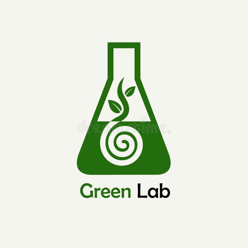 Logo verde del laboratorio, emblema Modello di vettore illustrazione di stock