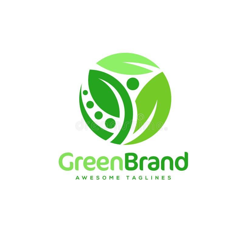 Logo verde di vettore di salute del cerchio della foglia illustrazione di stock