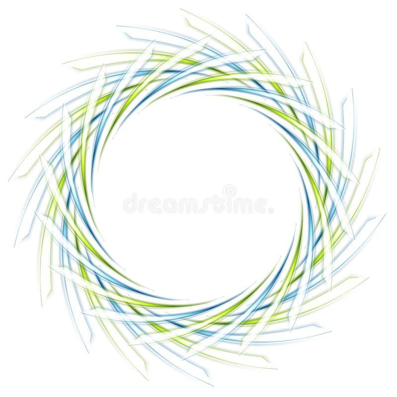 Logo verde e blu pieno di fruscii astratto su bianco illustrazione vettoriale