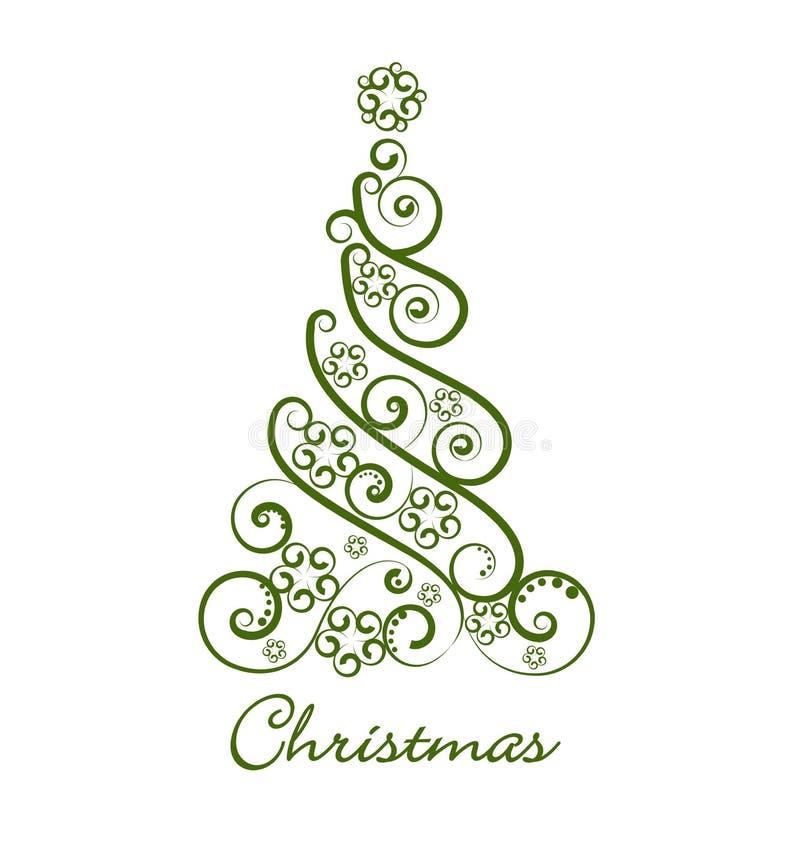 Logo verde festivo dell'icona dell'albero di Natale illustrazione di stock