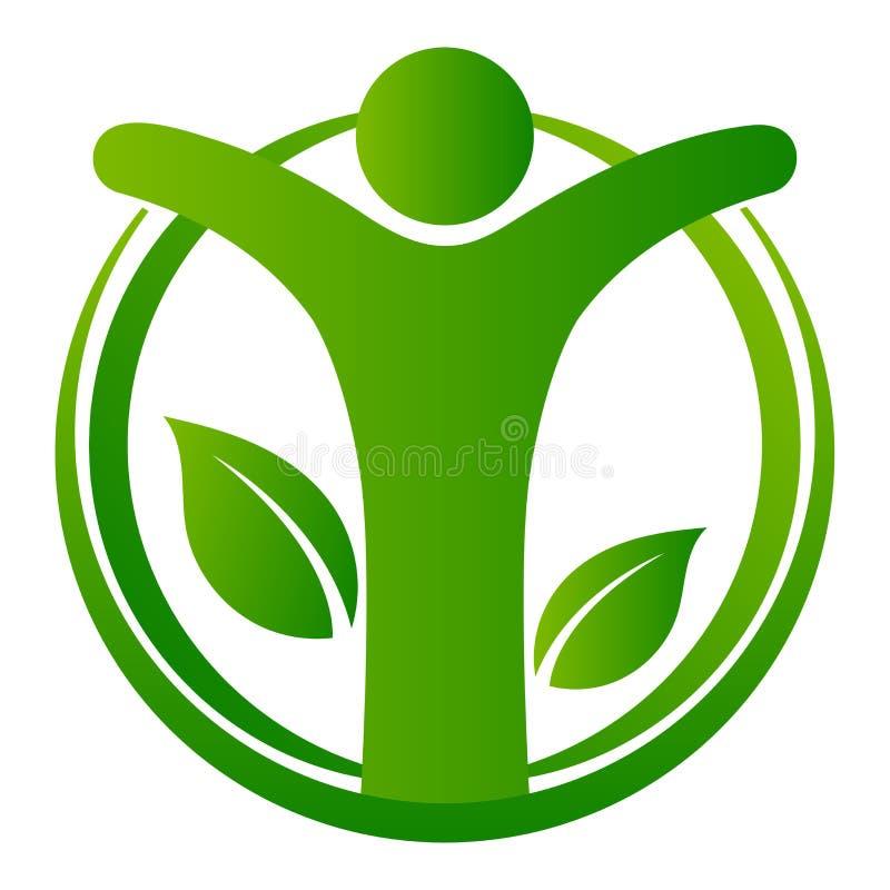 Logo verde umano dell'albero su bianco royalty illustrazione gratis