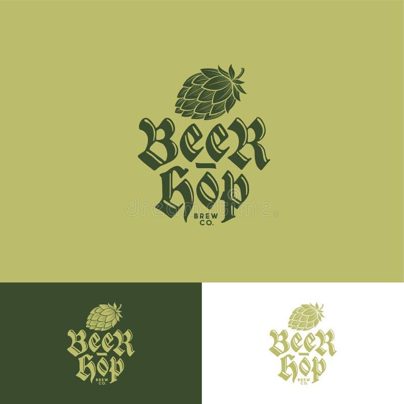 Logo vert d'houblon Logo de compagnie de brassage Emblème de bar de bière sur différents milieux illustration stock