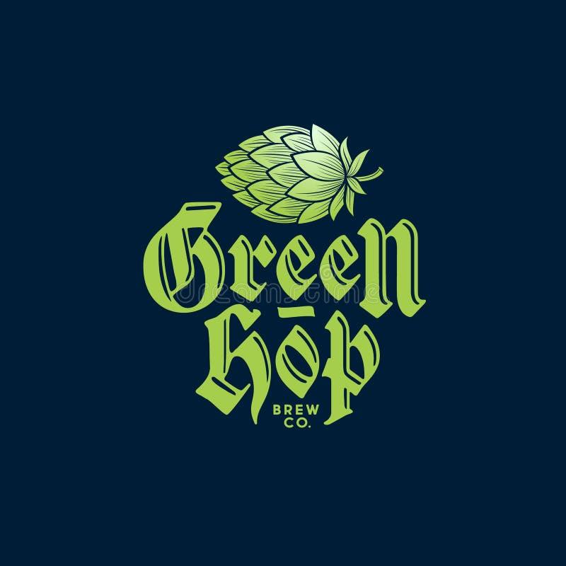 Logo vert d'houblon Logo de compagnie de brassage Embl?me de bar de bi?re Houblon en cônes et composition typographique illustration libre de droits