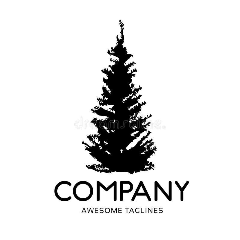 Logo vert de forêt de silhouette de pin illustration stock