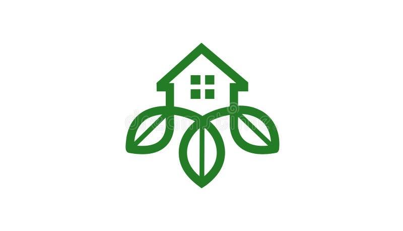 Logo vert de maison de construction illustration stock