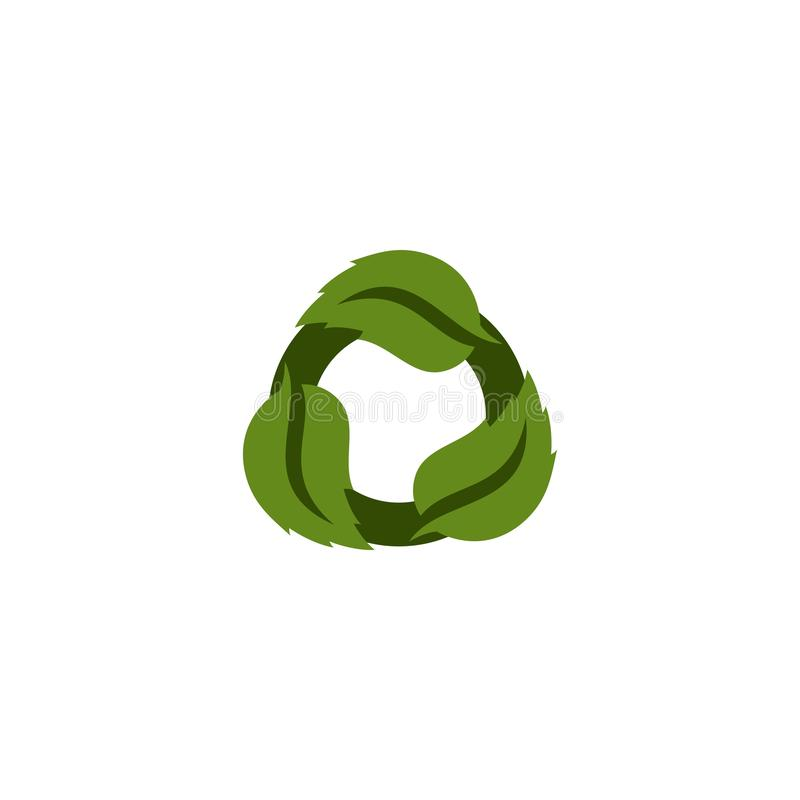 Logo vert renouvelable de feuille illustration stock