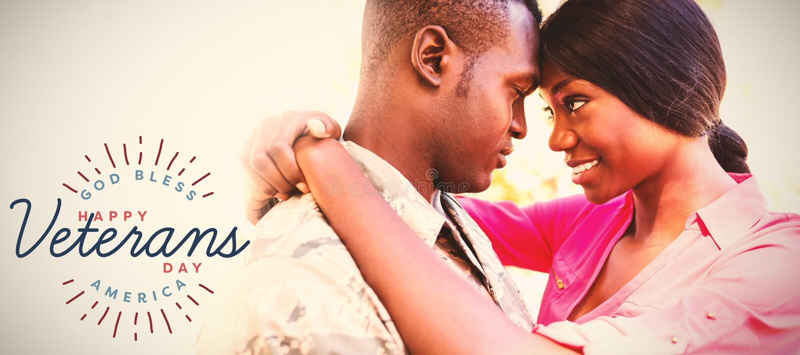 Composite image of logo for veterans day in america. Logo for veterans day in america against couple posing together royalty free stock image