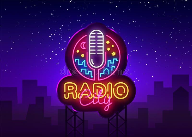 Logo Vetora de néon de rádio Sinal de néon da cidade de rádio, molde do projeto, projeto moderno da tendência, quadro indicador d ilustração do vetor
