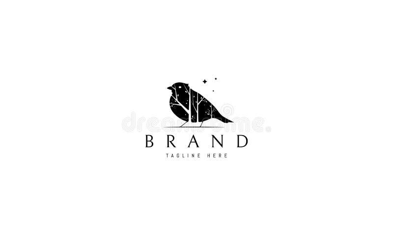 Logo vettoriale su cui è raffigurata un'immagine astratta di un uccello all'interno del quale sono presenti silhouette di alberi illustrazione vettoriale