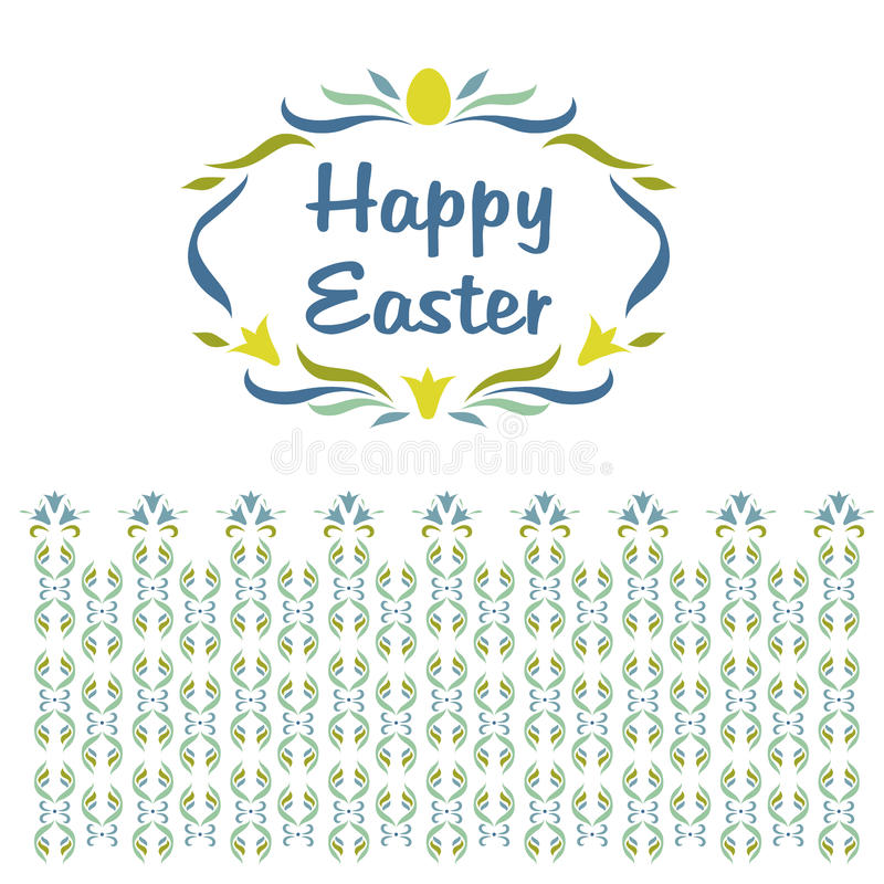 Logo, Vignette mit den Wörtern fröhliche Ostern floral vektor abbildung