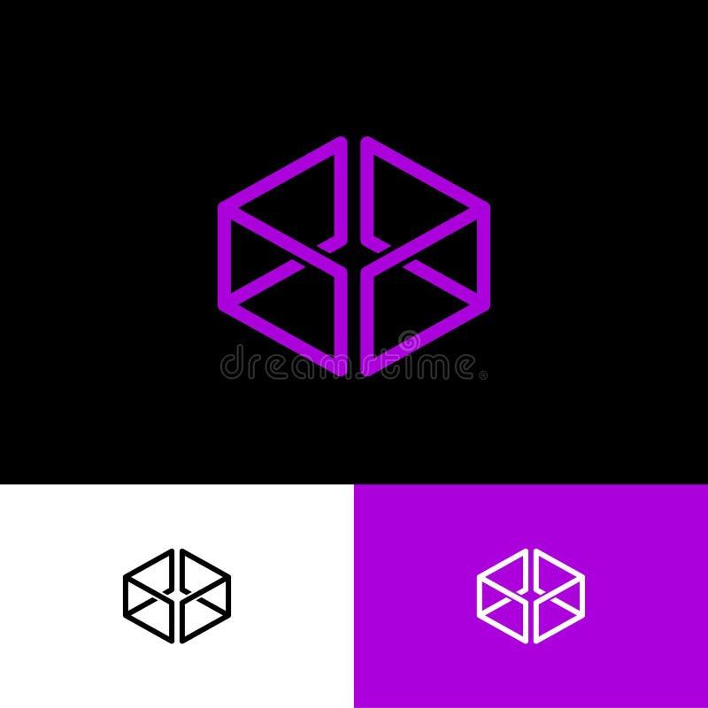 Logo viola della scatola Online, negozio dei regali L'icona consiste delle linee sottili illustrazione di stock